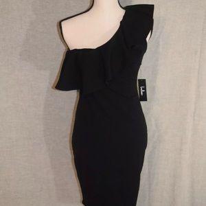 NWT Lulus Black one shoulder cocktail dress